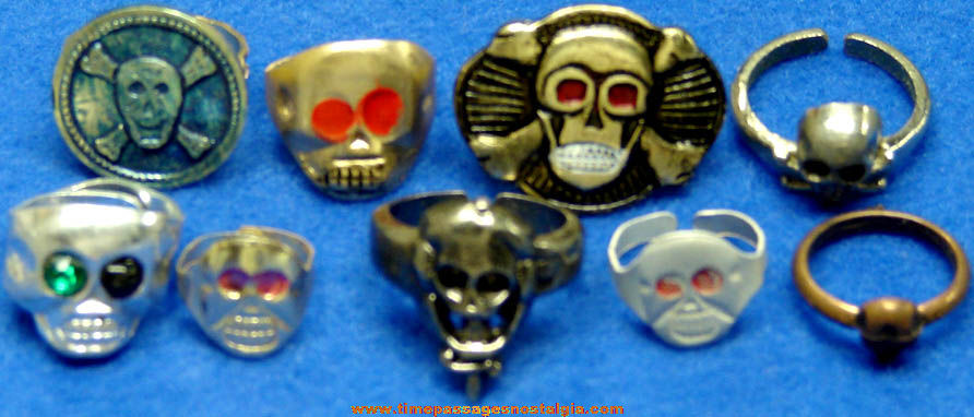 (9) Different Old Metal Skull Gum Ball Machine Prize Toy Rings