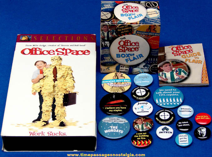 ©1999 Office Space VHS Movie with Booklet & Box of Pin Back Button Flair