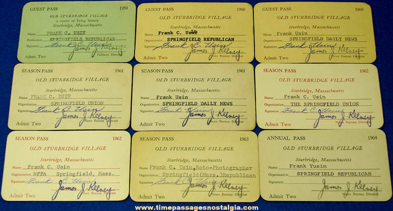 (9) 1959 - 1964 Sturbridge Village Massachusetts Advertising Guest Card Press Passes