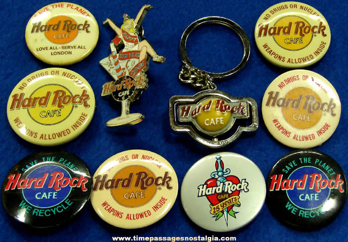 (10) Hard Rock Cafe Advertising Souvenir Pin Back Buttons and Key Chain