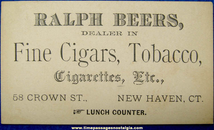 Old Cigar Cigarette & Tobacco Advertising New Haven Connecticut Business Card