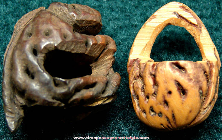 (2) Different Old Carved Miniature Peach Pit Items