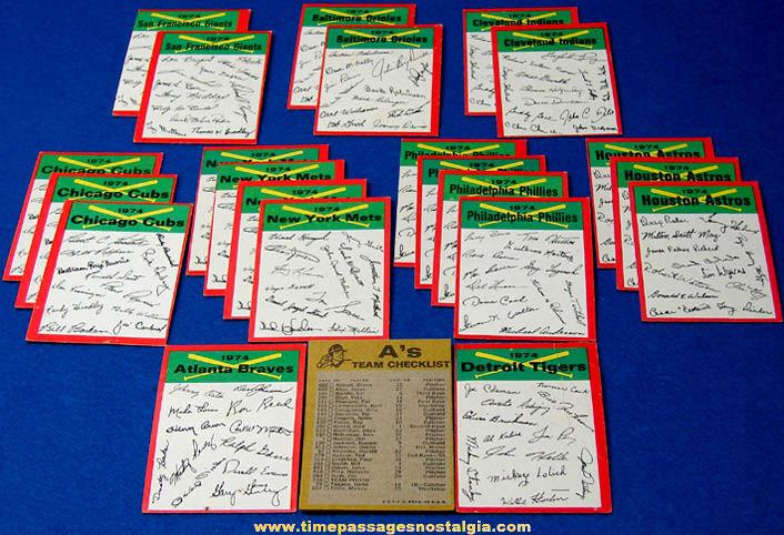 (23) 1974 Baseball Team Signature Checklist Baseball Cards