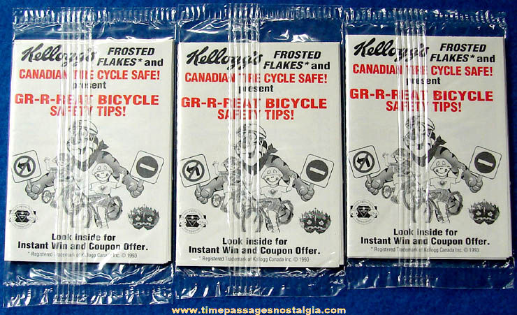 (3) Unopened ©1993 Canadian Kellogg's Frosted Flakes Cereal Advertising Great Bicycle Safety Tips Prizes