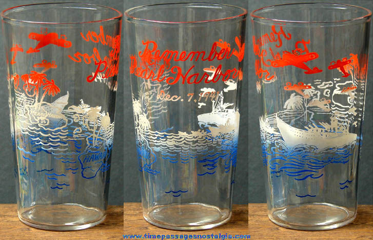 Old Patriotic Remember Pearl Harbor World War II U.S. Navy Tumbler Drink Glass
