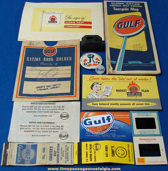 (13) Small Old Gulf Gasoline & Oil Advertising & Premium Items
