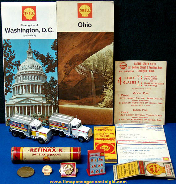 (14) Small Old Shell Gasoline & Oil Advertising & Premium Items