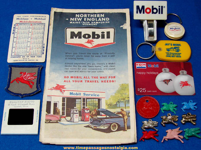 (17) Small Old Mobil Gasoline & Oil Advertising & Premium Items