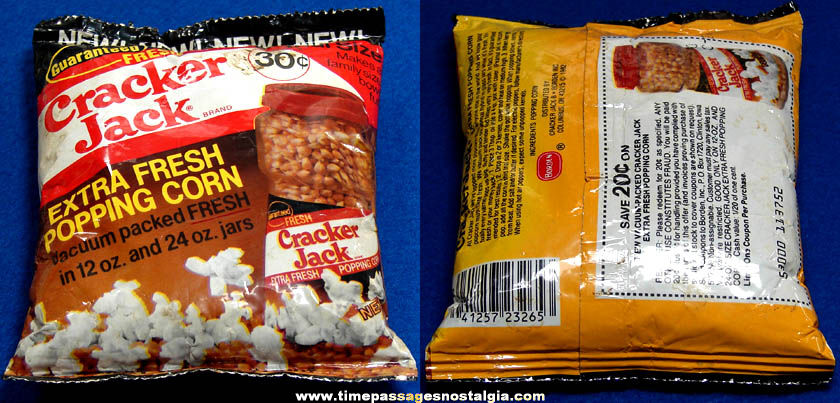 Old Unopened Special Trial Size Bag of Cracker Jack Pop Corn
