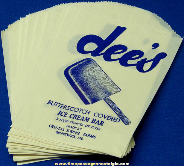 (25) Old Unused Dee's Butterscotch Covered Ice Cream Bar Advertising Paper Wrappers