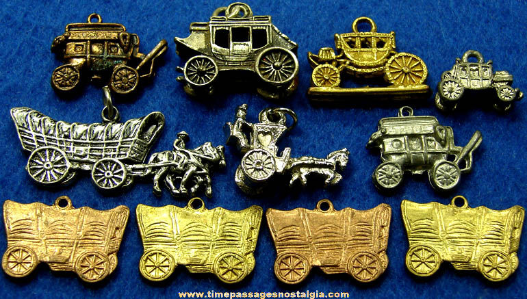 (11) Old Miniature Carriage & Wagon Metal Necklace Pendants or Charm Bracelet Jewelry Charms