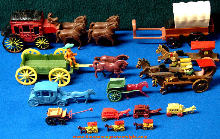 (15) Old Miniature Toy Horse Drawn Carriage Stage Coach & Wagon Vehicles