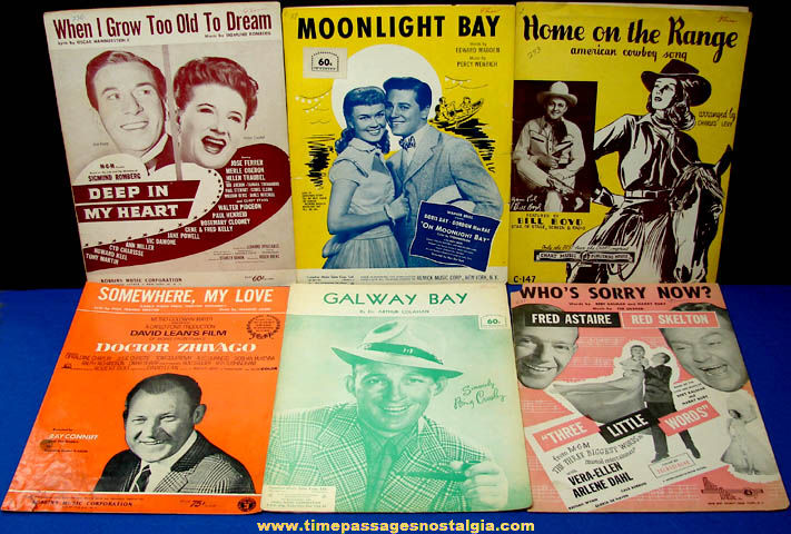 Old Sheet Music For (6) Different Popular Movie or Film Songs