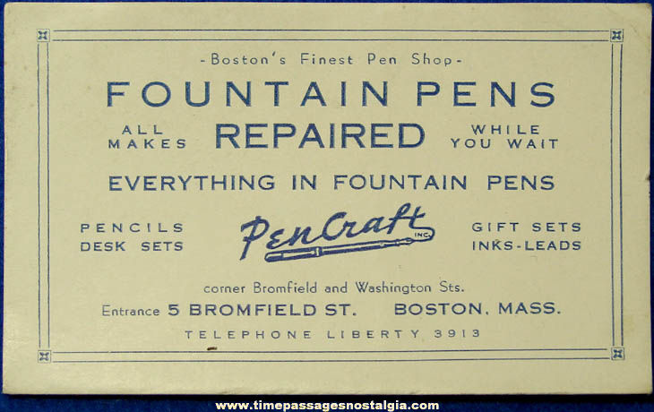 Old Boston Massachusetts Pencraft Fountain Pen Advertising Blotter Business Card