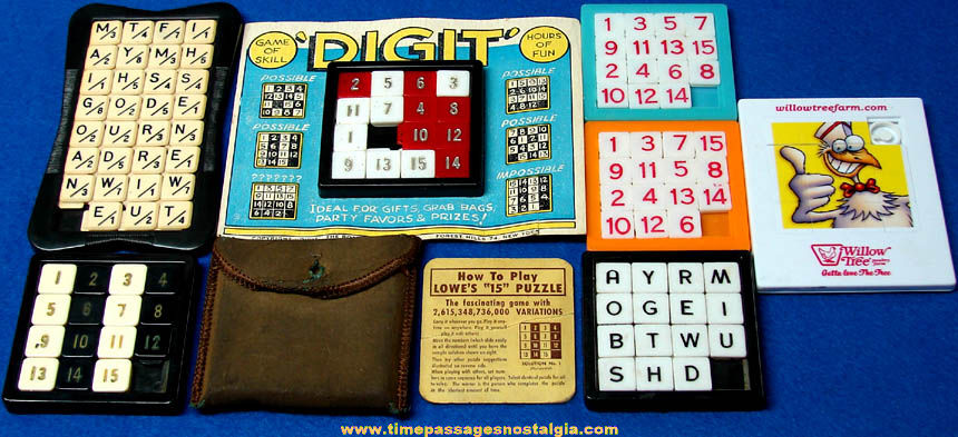 (7) Different Number, Letter & Advertising Plastic Slide Puzzles
