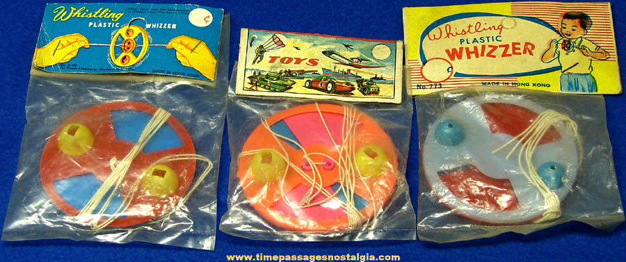 (3) Colorful Old Unopened Whistling & Spinning Plastic Whizzer Toys