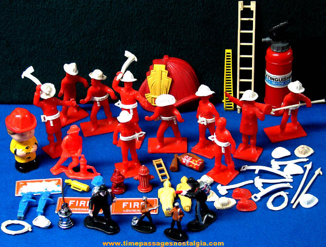 (73) Small Old Toy Fire, Fireman, & Firefighting Related Items