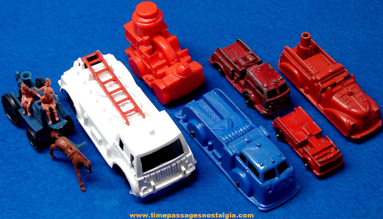 (7) Different Small Old Metal and Plastic Toy Fire Truck Vehicles