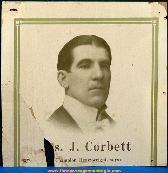 Early Jas. J. Corbett Champion Heavyweight Boxer Advertising Cardboard Sign