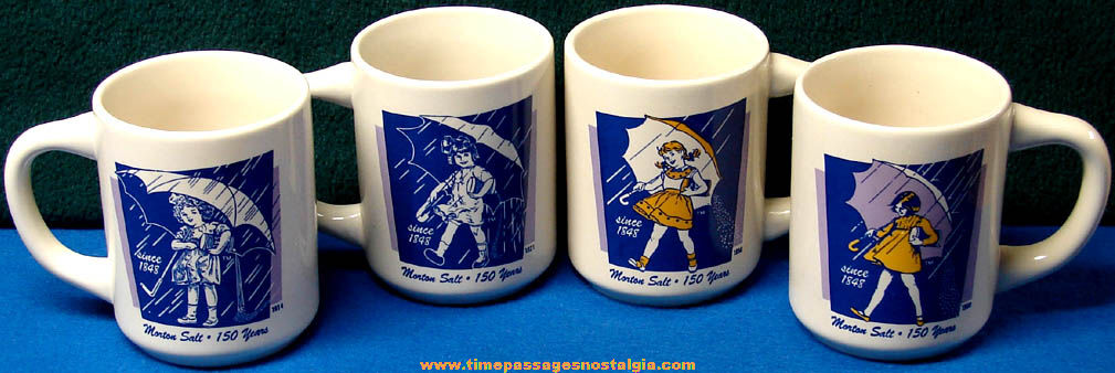Set of (4) Different Unused Morton Salt Advertising Character Coffee Cups