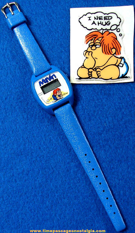 Unused ©1983 Marvin Comic Strip Character Bradley Digital Quartz Wrist Watch