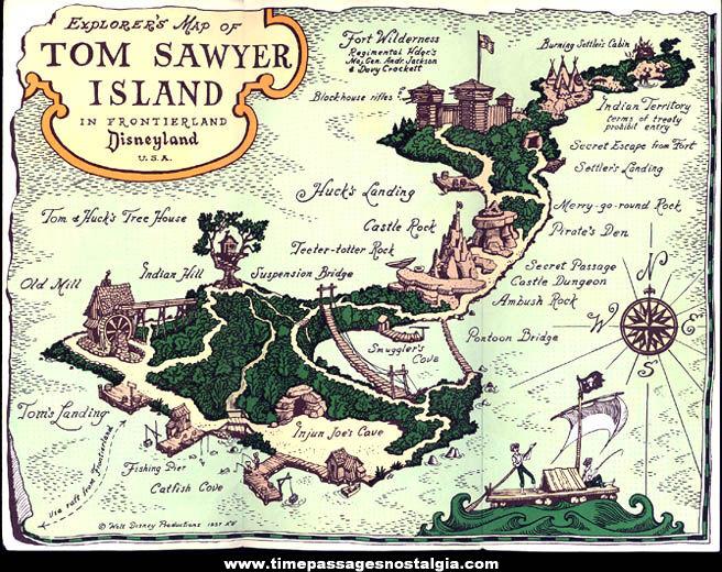 ©1957 Disneyland Frontierland Tom Sawyer Island Map Advertising Brochure