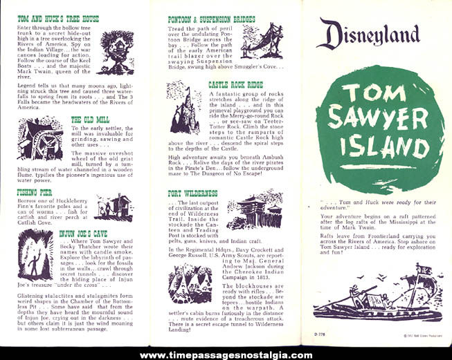 ©1957 Disneyland Frontierland Tom Sawyer Island Map Advertising Brochure