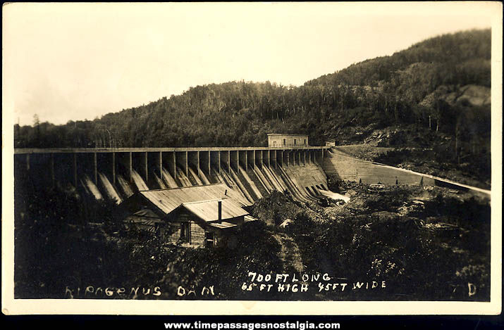 1934 Ripogenus Dam Chesuncook Lake Maine Real Photo Post Card