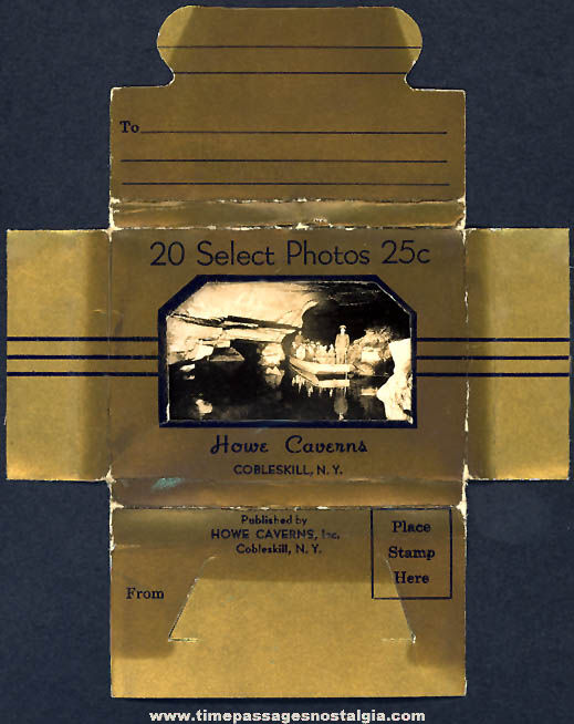 (20) Old Howe Caverns Cobleskill New York Advertising Souvenir Miniature Photographs With Mailer Box