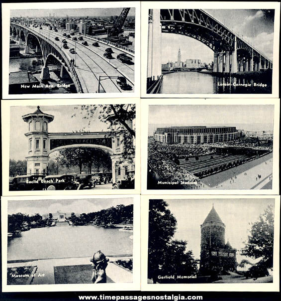 (12) Old Cleveland Ohio Advertising Souvenir Miniature Photograph Cards With Mailer Box
