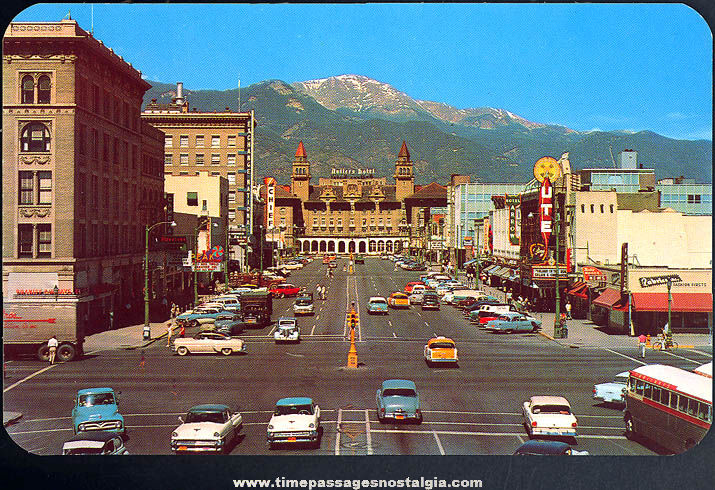 Old Unused Pikes Peak Avenue Colorado Springs Colorado Post Card