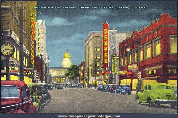 Colorful Old Unused Downtown Denver Colorado Linen Post Card