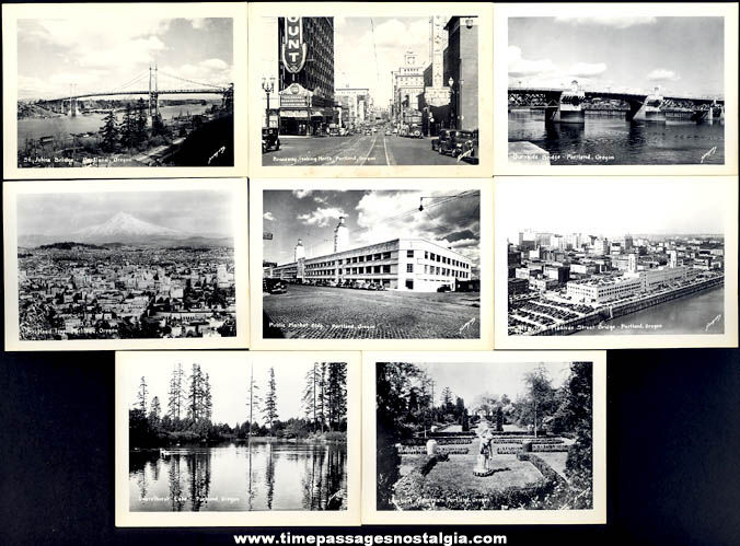 (10) 1930s City Of Portland Oregon Advertising Souvenir Miniature Photographs With Mailer Box