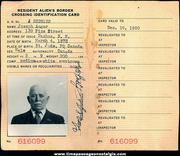 1950 United States Department of Justice Resident Alien Border Crossing Identification Card