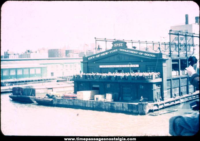 Old Swedish American Lines Cruise Ship Pier 97 New York City Photograph Slide