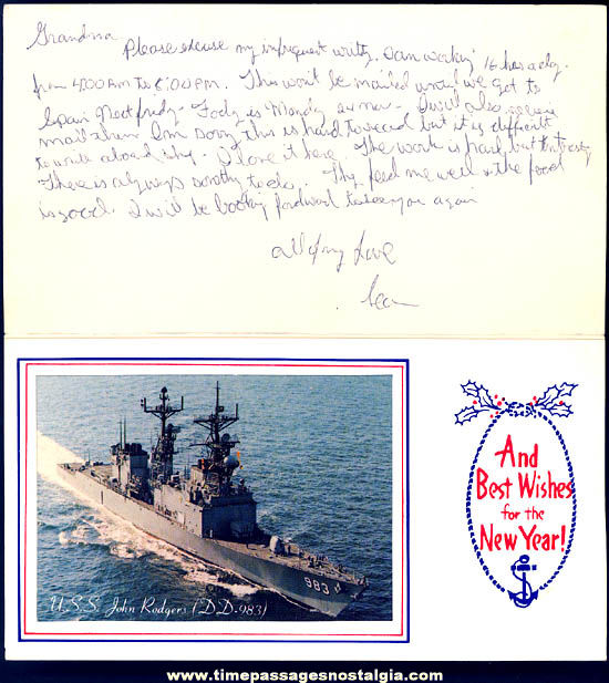 Old United States Navy U.S.S. John Rodgers DD-983 Ship Christmas Greeting Card