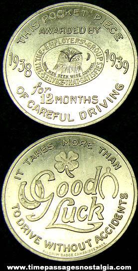 1938 - 1939 Careful Driving Award Good Luck Token Coin