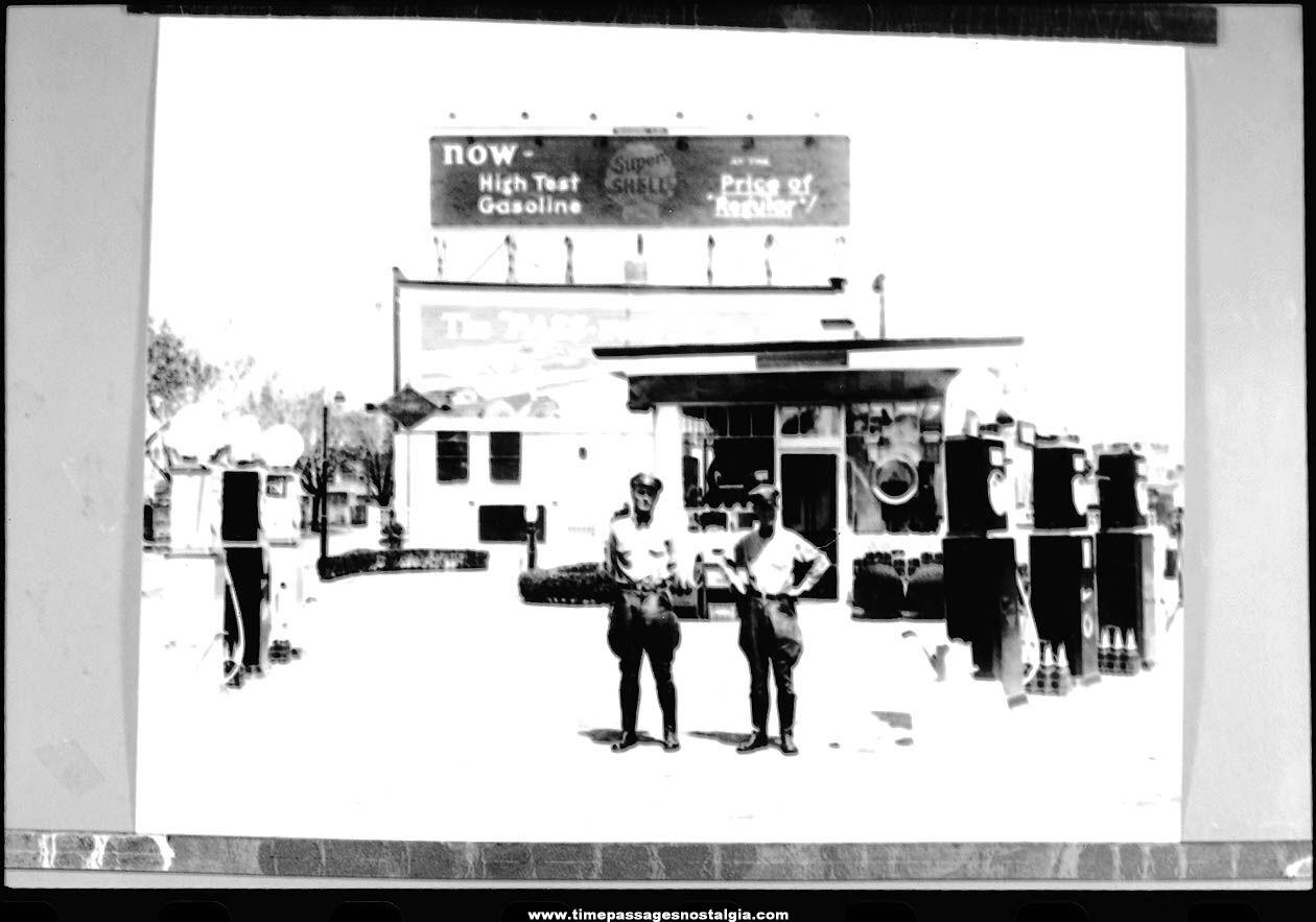 Old Nostalgic Shell Gasoline Station with Attendants Photograph Negative