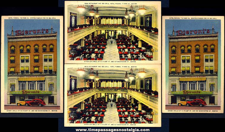 (4) 1940s Unused Boston Massachusetts Pieroni's Sea Grill Restaurant Advertising Post Cards