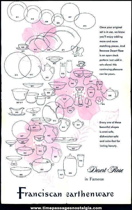 1960 Franciscan Earthenware Desert Rose Dinnerware or Tableware Advertising Brochure