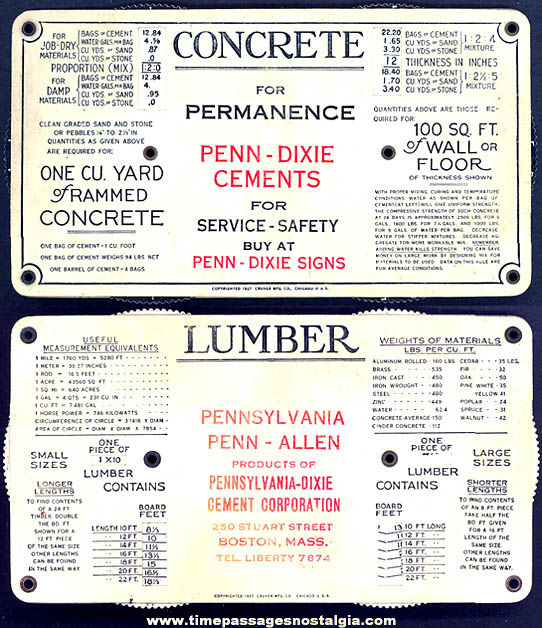 1927 Pennsylvania Dixie Cement Corporation Advertising Celluloid Lumber Concrete Calculator