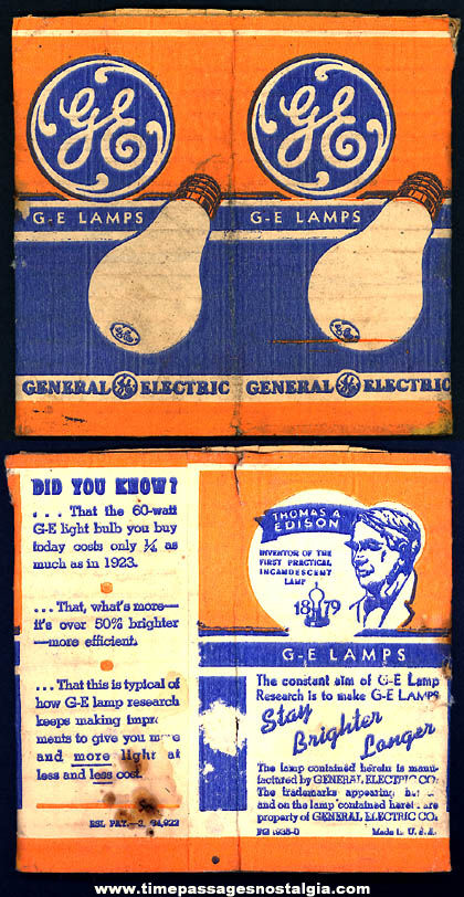 1935 General Electric Advertising Light Bulb Printed Paper Sleeve Box