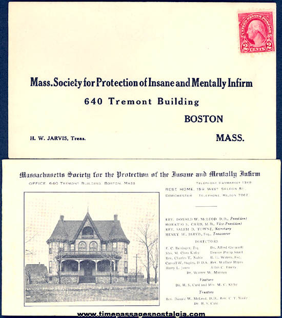 1928 Massachusetts Society For Protection of Insane and Mentally Infirm Booklet & Envelope