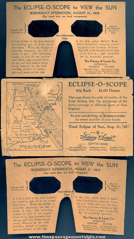 (2) ©1932 Solar Eclipse Eclipse - O - Scope Viewers With Envelope