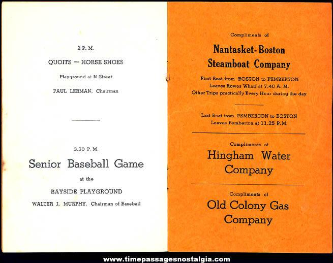 1938 Hull Massachusetts 31st Annual Hull Gala Day Advertising Program Booklet
