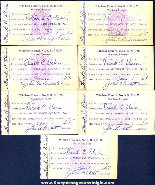 (7) 1961 - 1967 Windsor Vermont Chapter No. 8 Royal & Select Masters Mason Advertising Membership Cards