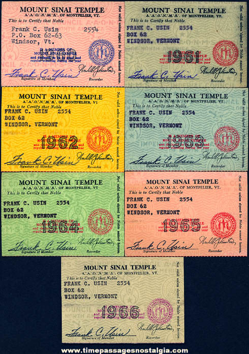 (7) 1960 - 1966 Windsor Vermont Ancient Arabic Order of The Nobles of The Mystic Shrine Advertising Membership Cards