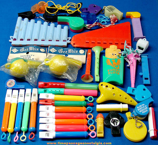 (40) Colorful Old & New Plastic Novelty Toy Whistles and Flutes