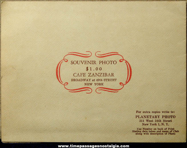 Old New York Cafe Zanzibar Advertising Souvenir Photo Folder with Cab Calloway Autograph