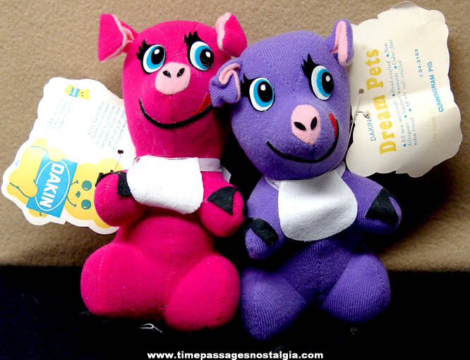 (2) Different 1970s Dakin Dream Pets Animal Character Toy Dolls With Tags